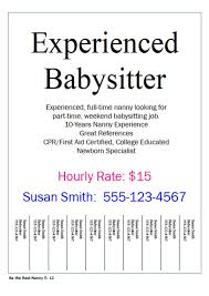 Babysitter Wanted Flyer Template Templates Resume Examples