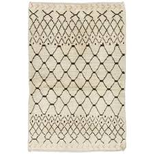 moroccan rug in natural ivory and brown wool for