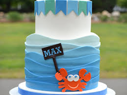 Fun 2 Year Old Birthday Cake With Waves Sailboat And Crab