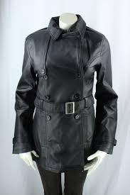 las black leather 3 4 trench coat