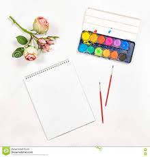 Flat Lay Sketchbook <b>Watercolor Brushes</b> Paper <b>Rose Flowers</b> Stock ...