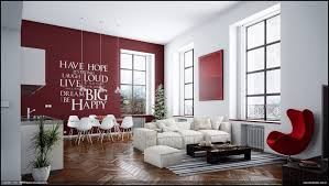 amusing white room. Delectable Living Room Design With Various Wall Decors : Amusing White And Red
