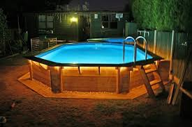 Rustic Style Small Outdoor with Above Ground Wooden Swimming Pools