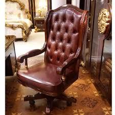 leather office. YB63 Mewah Antik Chesterfield Kulit Kursi Kantor Kayu Solid Kain Jok Boss Makan Putar Leather Office