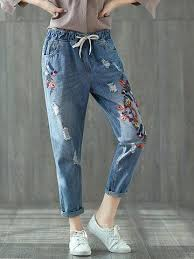 <b>Vintage Embroidery</b> Women <b>Ripped</b> Jeans | pusula jeans in 2019 ...