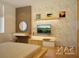 Bedding And Platform Bed With Bedroom Tv Unit Design Also Wallpaper