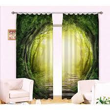 Gfywz 3d Druck Wald Fenster Gardinen Home Decor Dick Isoliert
