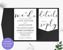 Printable Wedding Invitation Back Pocket Wedding Invitations Elegant Diy A6 Pocket Folio
