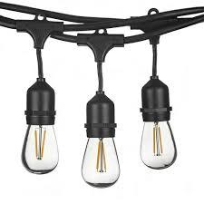 Lemontec Commercial Grade Outdoor String Lights 24ft 48ft Led Outdoor Waterproof Commercial Grade Patio String Lights Bulbs