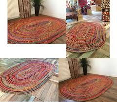 second nature large braided oval rag rug jute cotton multi coloured 120