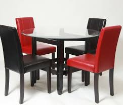 red upholstered dining room chairs. Black And Red Upholstered Dining Room Chairs With Round Glass Table S