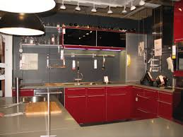 Modern Kitchen Design With Red Lower Cabinets And Black Upper Cabinets