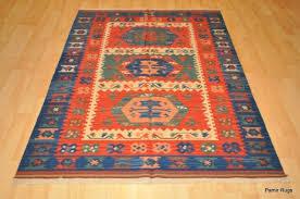 on southwestern wool kilim area rug 3 x 5 handmade red and blue
