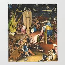 the garden of earthly delights bosch hell bird man detail throw blanket