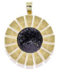 zaveri pearls black druzy semi precious stone pendant set with finger ring