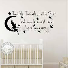 baby boys girls nursery bedroom wall stickers twinkle twinkle little star wall stickers quote decor decals with fairy on moon kd on little black girl wall art with baby boys girls nursery bedroom wall stickers twinkle twinkle little