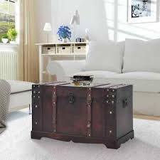 vintage travel trunk wooden coffee