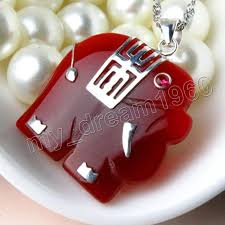 details about mens women s jewelry red jade animal elephant 18k plated pendant hot