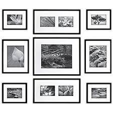 black picture frames wall. Gallery Perfect 9 Piece Black Wood Photo Frame Wall Kit. Includes: Frames, Picture Frames