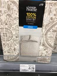 this particular duvet set is sold out with asda but still showing in for the lower but suggest heading down to your local asda to see if
