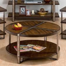 large round wood coffee table with storage