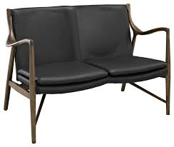 makeshift mid century modern leather loveseat in walnut black transitional loveseats by contemporary furniture warehouse