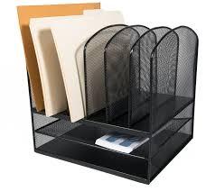 com adiroffice mesh desk organizer desktop paper file folder organizer holder letter tray 6 vertical 2 horizontal sections black office
