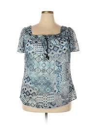 Details About Roz Ali Women Blue Short Sleeve Blouse 1x Plus