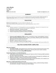 Resume Sample Engineering Student Writing Lab Examples Mechanical
