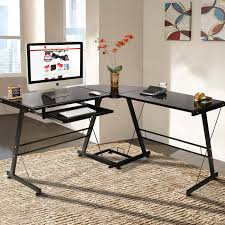 best choice s l shape computer desk workstation w tempered glass top tower