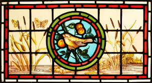 ref vic487 2 antique victorian stained glass windows flowers bird tramsom