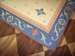 painted floor rugs detail of dining room with faux oriental rug on top inlaid mahogany canvas painted floor rugs