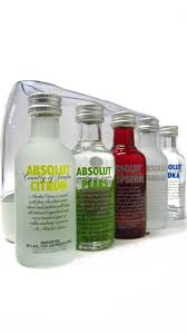 vodka absolut 5 x miniatures gift set
