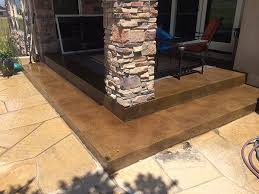 patio with concrete staining
