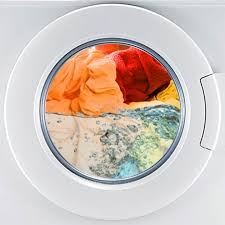 washing machine with clothes. washing machine with clothes