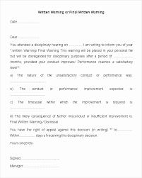 Employee Warning Letters Template Employees Warning Letter Template Unique Verbal Warning Template