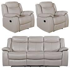 Light Grey Leather Recliner Sofa Vida Living Torretta Light Grey Leather 3 1 1 Seater Recliner Sofa