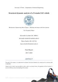 Fsae Chassis Design Report Structural Dynamic Analysis Of A Formula Sae Vehicle