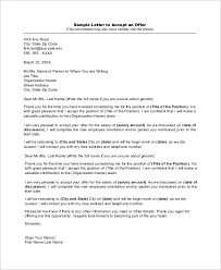 Sample Job Offer Acceptance Letter 8 Examples In Word Pdf
