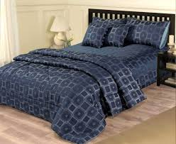 piece navy blue bedding set  king size duvet cover  bed throw