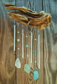 A driftwood and seaglass windchime :D - think I could do this; collection of