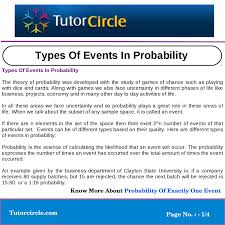 Types Of Probability Types Of Events In Probability By Yatendra Parashar Issuu