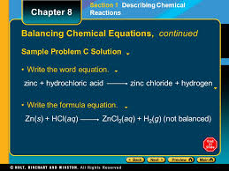 33 balancing chemical equations continued sample problem