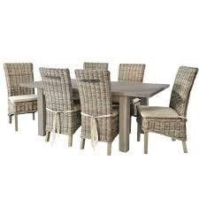 grey wash rattan dining chairs with cream cushion pair modish living modish