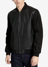 calvin klein men s faux leather baseball jacket