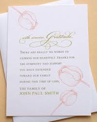 Funeral Words For Cards Simple Funeral Sympathy Thank You Cards With Three Big Peach Tulips