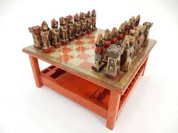 bohemian 1950s italian large sculpture chess set and game coffee table for