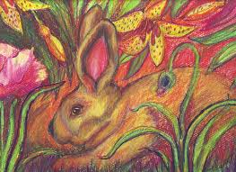 rabbit painting rabbit in flowers by susan brown slizys art signature name