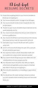 The 13 Best Kept Resume Secrets Employment Pinterest Resume