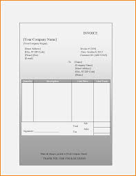 Basic Blank Invoices Templates Sample Printable Free Template The